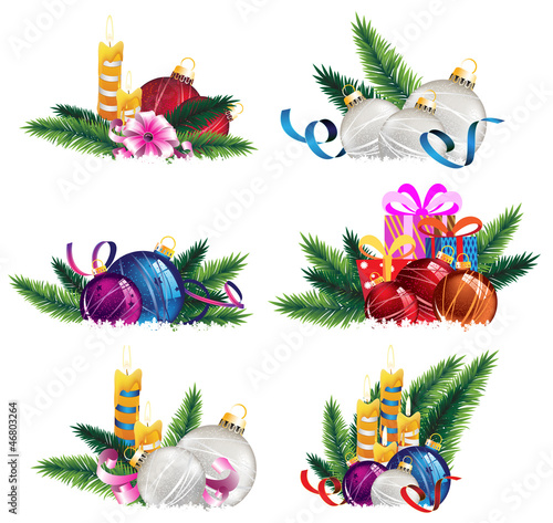 Bright holiday decoration elements