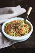 Спагетти с кабачками, помидорами и сыром пармезаном
