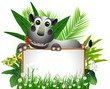 cute rhino cartoon with blank sign and tropical forest