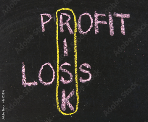 profit, loss and risk on blackboard