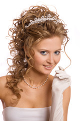 Studio portret of the beautiful bride