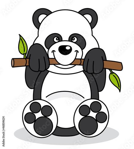 Tuinposter Beren Oso panda comiendo bambú