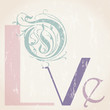 love concept with word/letter, retro/vintage style
