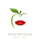 Logo diet, dietician. Mouth and green apple # Vector