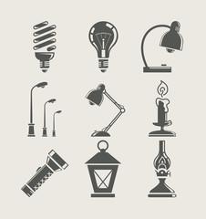 light bulb and lighting appliance. set icon vector illustration