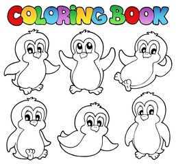 Coloring book cute penguins 1