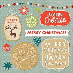 set of Merry Christmas lettering