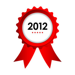 special label with red ribbons - best of 2012 sign