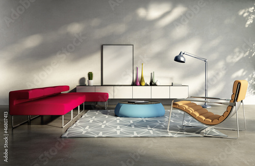 Contemporary elegant fresh living room, red sofa in sunlight