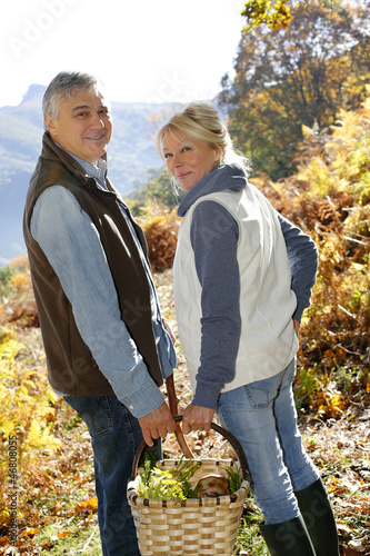 Senior couple in forest holding basket full of ceps