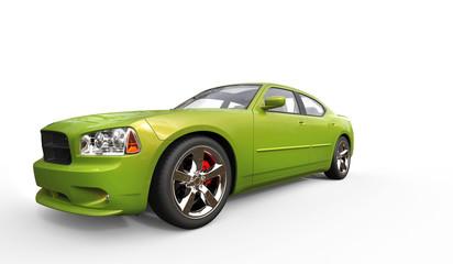 Green Metallic Fast Car