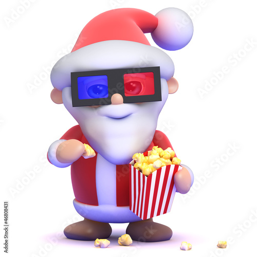 Santa watching a 3d movie with popcorn