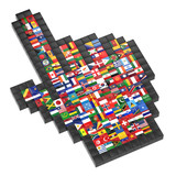 Abstract 3d cursor with flags of the world.