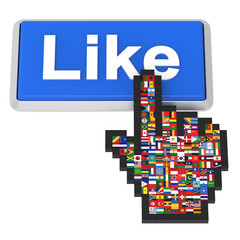 Like button and hand cursor with flags of the world.