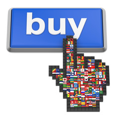 Buy button and hand cursor with flags of the world.