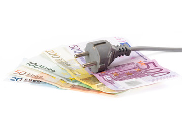 Euro banknotes with cable