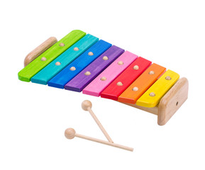 Wooden rainbow colors xylophone toy isolated on white