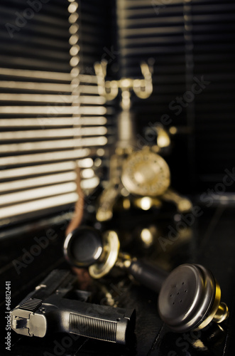 Retro Film Noir Scene - Vintage Phone, Gun and Blinds