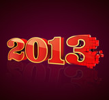 3D 2013 year red & gold text, title 3d render pixel transition