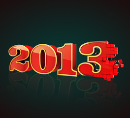 3D 2013 year red & gold text, title 3d render pixels dark BG