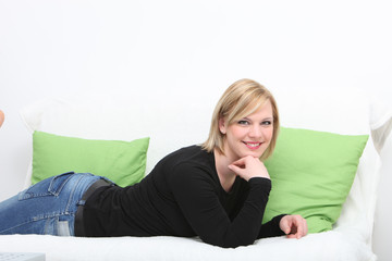 Attractive blonde woman relaxing