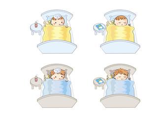 風邪で眠る子供とすやすや眠る子供