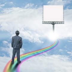 Man on rainbow way