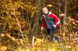 Joggender Senior im Herbstwald