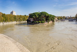Tiber Island and a flooded Tiber, Rome, Italy