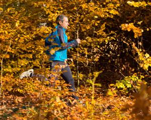 Jogger im Herbstwald