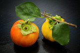 fresh persimmon with leaf