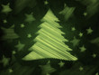 retro green background with christmas tree and stars