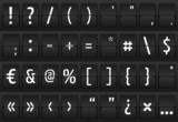 Set of glyphs on a mechanical terminal table poster