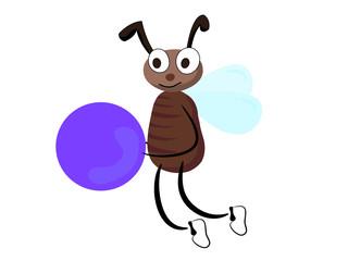 Cartoon fly with ball