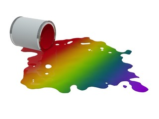toppled paint tin - rainbow colors