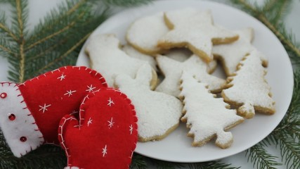Christmas cookies and sewn holiday mitten decorations