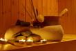 canvas print picture - Sauna mit Lavasteinen
