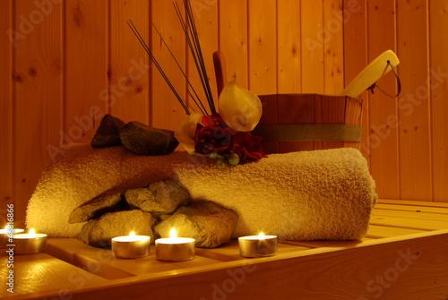 canvas print picture Sauna mit Lavasteinen