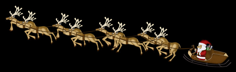 Christmas Reindeer Mulberry Paper Cutting on black background.