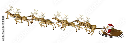 Christmas Reindeers Mulberry Paper Cutting on white background.