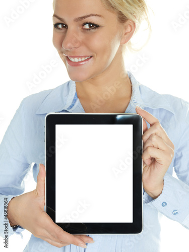 Pretty woman presenting her touchpad with copyspace