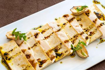 Close up of grilled tofu.