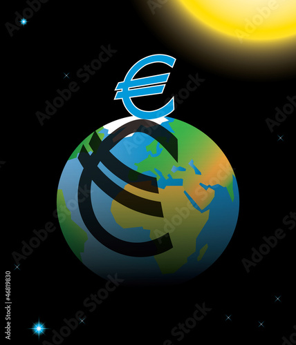 Eurozone crisis symbolized by euro casting shadow over Earth