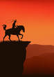 cowboy at the sunset cliff vector illustration