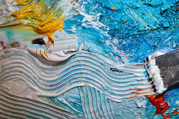 Paintbrush with oil paint wave