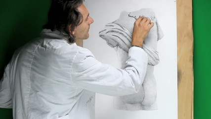 artist making a copy of ancient greek statue, charcoal drawing
