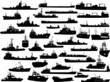 Set of 38 (thirty eight) silhouettes of sea ships