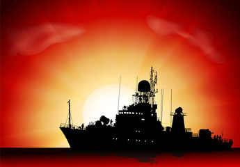 Vector silhouette of the military ship on sunset