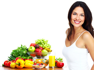 Young healthy woman with fruits.