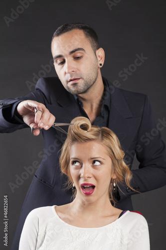 hairdresser with long hair model © srki66